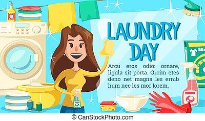 αγγαρεία , αφίσα , νοικοκυριό , γυναίκα , μπουγάδα