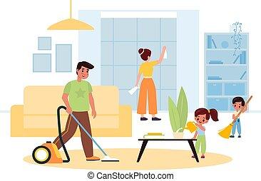 αγγαρεία , μερίδα φαγητού , σπίτι , νοικοκυριό , μητέρα , γενική ιδέα , parents., παιδιά , μικρόκοσμος , πατέραs , γελοιογραφία , νοικοκυριό , vacuuming., ειδών ή πραγμάτων δωμάτιο , άνθρωποι , καθάρισμα , άρθρωση , ζούμε , πλύση , μικροβιοφορέας , interior.
