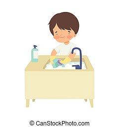 αγγαρεία , χαριτωμένος , πλύση , αγόρι , πιάτα , εικόνα , οικιακή εργασία , μικροβιοφορέας , σπίτι , λατρευτός , παιδί