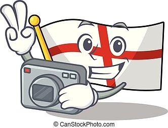 αγγλία , φωτογράφος , δίπλωσα , σημαία , επάνω , τραπέζι ,...
