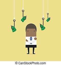 αγικστρώνω , λεφτά. , εις , ψάρεμα , αφρικανός , επιχειρηματίας , selects