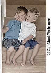αγκαλιάζομαι , απόχρωση , αδέλφια , βαθμίδα. , εικόνα , κλείνω