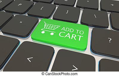 αγοράζω από καταστήματα online , εικόνα , προσθέτω , ηλεκτρονικός υπολογιστής , κάρο , πληκτρολόγιο , 3d