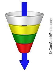 αγοράζω , rendering., funnel., concept:, 3d