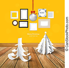 αγριοκέρασο διακοπές χριστουγέννων , χαιρετισμός αγγελία , με , origami , χριστουγεννιάτικο δέντρο , διακοπές χριστουγέννων μπάλα , και , αναπαριστώ αποτελώ το πλαίσιο , φωτογραφία , γκαλλερί τέχνης , επάνω , κίτρινο , wall., μικροβιοφορέας , eps10