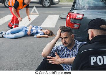 αγριομάλλης , οδηγός , αποκαλύπτω αναφορικά σε , αστυνομικόs , μετά , αυτοκινητιστικό δυστύχημα