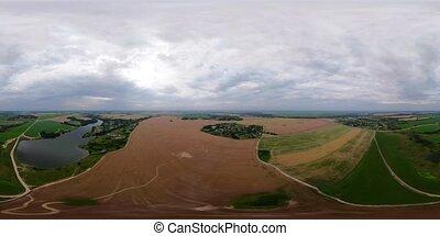 αγροτικός γραφική εξοχική έκταση , vr360