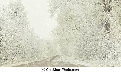 αγροτικός , χιονόπτωση , άκρα του δρόμου