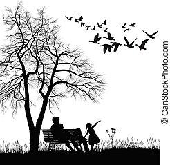 αγρυπνία , χήνες , άγριος , πάρκο , ανώριμος ειδών ή πραγμάτων