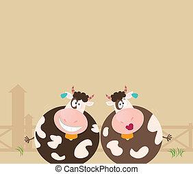 αγρόκτημα , αγελάδα , animals:, δυο , ευτυχισμένος