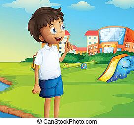 αγόρι , αγέλη ιχθύων αυλή σχολείου