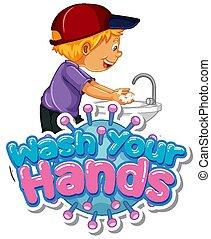 αγόρι , ανάμιξη , πλένω , δικό σου , αφίσα , πλύση , σχεδιάζω