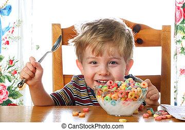 αγόρι , γαβάθα , δημητριακά , ευτυχισμένος