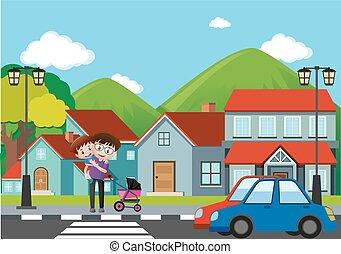 αγόρι , γειτονιά , σκηνή , διάβαση , δρόμοs , άντραs