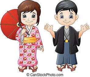 αγόρι , γιαπωνέζοs , ομοειδής , παραδοσιακός , κορίτσι , γελοιογραφία