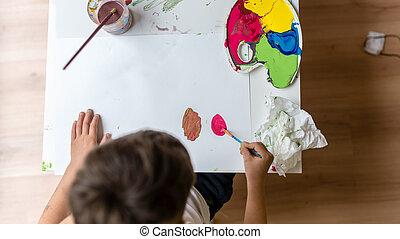 αγόρι , γραφικός , απεικονίζω , νέος , χαρτί , ζωγραφική