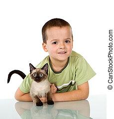 αγόρι , δικός του , γατάκι