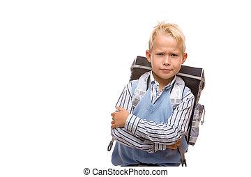 αγόρι , δικός του , θυμωμένος , ατενίζω , schoolday, πρώτα