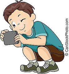 αγόρι , εικόνα , κάθομαι , ελκυστικός , τηλέφωνο , παιδί
