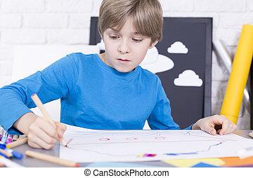 αγόρι , ζωγραφική , χαρτί , κάτι , κομμάτι