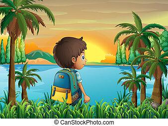 αγόρι , ηλιοβασίλεμα , τσάντα , αγρυπνία