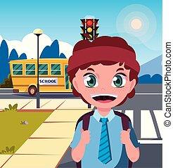 αγόρι , ιζβογις , δρόμοs , τσάντα , λεωφορείο