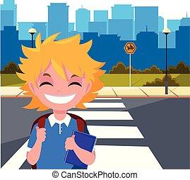 αγόρι , ιζβογις , δρόμοs , τσάντα , πόλη