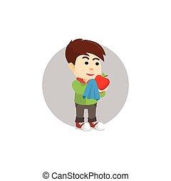 αγόρι , καθάρισμα , μήλο