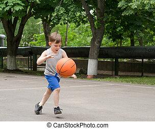 αγόρι , καλαθοσφαίρα , νέος , παίξιμο