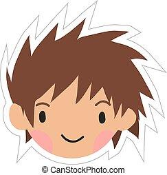 αγόρι , κεφάλι , διαμέρισμα , αυτοκόλλητη ετικέτα , icon., γελοιογραφία