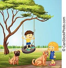 αγόρι , κορίτσι , πάρκο , παίξιμο