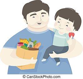 αγόρι , λαχανικά , υγιεινός , πατέραs , εικόνα , παιδί