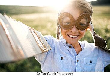 αγόρι , λιβάδι , φύση , flying., παίξιμο , μεγάλα ματογυαλιά , μικρό , παρασκήνια , εάν