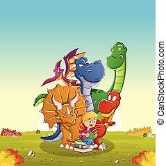 αγόρι , μεγάλος , δεινόσαυροι , βιβλίο , πράσινο , διάβασμα , γελοιογραφία , park.