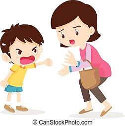 αγόρι , μητέρα , θυμωμένος , κραυγές