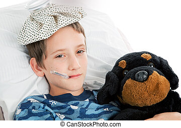 αγόρι , μικρός , άρρωστος , σπίτι