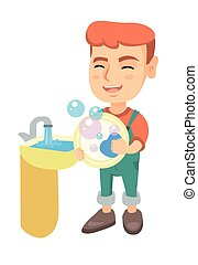 αγόρι , μικρός , αβέστωμα ανατρέπω , sink., καυκάσιος