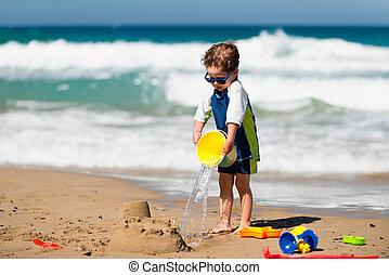 αγόρι , μικρός , αναβλύζω διαύγεια , άμμος έπαυλη