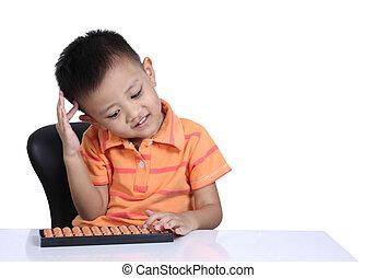 αγόρι , μικρός , απομονωμένος , φόντο , άσπρο , άβακας , παίξιμο
