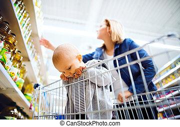 αγόρι , μικρός , αυτήν , νέος , supermarket., μητέρα , μωρό