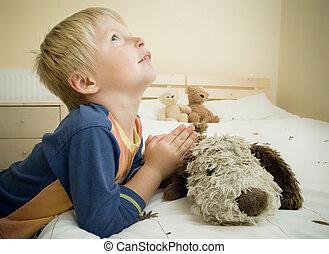 αγόρι , μικρός , εκλιπαρώ , bed., κρεβατοκάμαρα