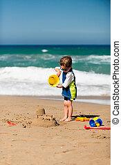 αγόρι , μικρός , κάστρο , άμμοs , κατασκευή