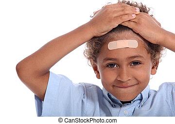 αγόρι , μικρός , κεφάλι , ασβεστοκονίαμα