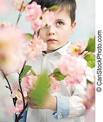 αγόρι , μικρός , λουλούδι , κράτημα , κομψός