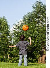 αγόρι , μικρός , μπάλα , παίξιμο