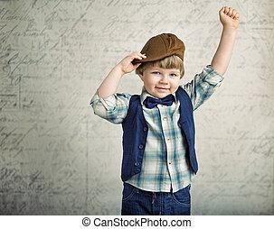 αγόρι , μικρός , νίκη , χειρονομία , ωραία