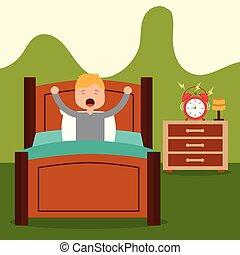 αγόρι , μικρός , πάνω , εικόνα , αγρυπνία , μικροβιοφορέας , κρεβάτι , φόντο , άσπρο