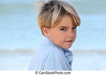 αγόρι , μικρός , παραλία , ανακουφίζω από δυσκοιλιότητα