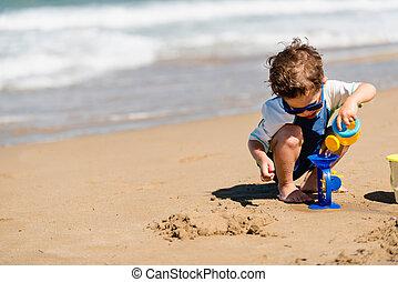 αγόρι , μικρός , παραλία , παίξιμο , άθυρμα