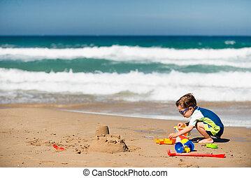 αγόρι , μικρός , παραλία , παίξιμο